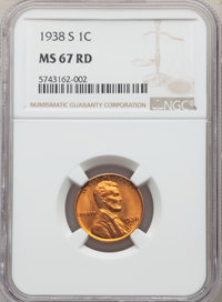 1938-S 1C MS67 Red NGC. NGC Census: (782/0). PCGS Population: (360/0). CDN: $125 Whsle. Bid for NGC/PCGS MS67. Mintage 1...