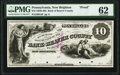 Obsoletes By State:Pennsylvania, New Brighton, PA- Bank of Beaver County $10 18__ G4 Proof PMG Uncirculated 62, POCs.. ...