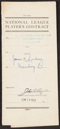Autographs:Others, 1929 Jim Lindsey Signed Player's Contract. Offered...
