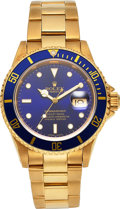 Timepieces:Wristwatch, Rolex Gold Oyster Perpetual Date Submariner, Ref. 16618, c...