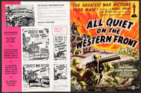 All Quiet on the Western Front & Other Lot (Eros Films, R-1950). Very Fine. Uncut British Pressbooks (2) (4 Pages, 8...