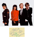 Music Memorabilia:Autographs and Signed Items, The Pretenders Signed Card (circa early 1980s). ...