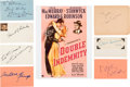 Movie/TV Memorabilia:Autographs and Signed Items, Double Indemnity Cast and Crew Autograph Collection (7) (1944). ...