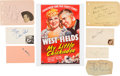 Movie/TV Memorabilia:Autographs and Signed Items, My Little Chickadee Cast Autograph Collection (7) (1940). ...