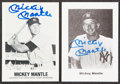 Autographs:Sports Cards, Signed Mickey Mantle Baseball Card Pair (2). Offer...