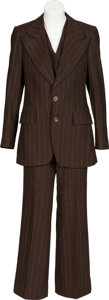 Music Memorabilia:Costumes, Keith Moon Ben Sherman Penny Round Collar Shirt and Three-Piece Brown/White Striped Suit. ... (Total: 2 Items)