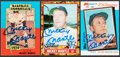Autographs:Sports Cards, Offered is a trio of signed Mickey Mantle baseball cards. Eac...