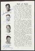 Autographs:Others, Sandy Koufax, Yogi Berra, Lefty Gomez Multi-Signed Clippin...