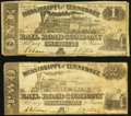 Grenada, MS- Mississippi and Tennessee Rail Road Company $1; $2 Feb. 20, 1862 Very Good-Fine. ... (Total: 2 notes)