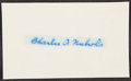 Autographs:Index Cards, Charles Nichols Signed Cut. Offered is a signed cu...
