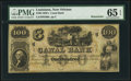 Obsoletes By State:Louisiana, New Orleans, LA- New Orleans Canal and Banking Company $100 18__ G60a Remainder PMG Gem Uncirculated 65 EPQ.. ...