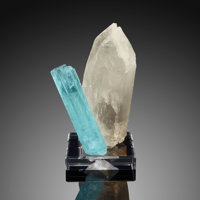 "Beryl var. Aquamarine on Quartz ""V"" Shigar District Gilgit-Baltistan Pakistan  ... (Total: 2 Items)"