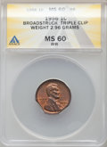 Errors, 1956 1C Lincoln Cent -- Broadstruck, Triple Clip -- MS60 Red and Brown ANACS. 2.96 Grams....