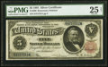 Large Size:Silver Certificates, Fr. 266 $5 1891 Silver Certificate PMG Very Fine 25 Net.. ...