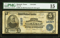 Quanah, TX - $5 1902 Plain Back Fr. 609 First National Bank Ch. # 12307 PMG Choice Fine 15