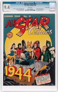 All Star Comics #21 Crowley Copy Pedigree (DC, 1944) CGC NM 9.4 White pages
