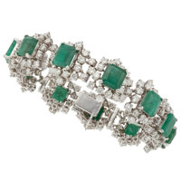 Emerald, Diamond, White Gold Bracelet