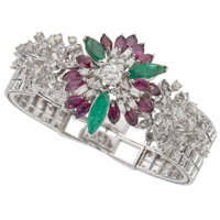 Diamond, Ruby, Emerald, White Gold Bracelet