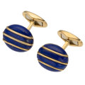 Estate Jewelry:Cufflinks, Lapis Lazuli, Gold Cuff Links . ...