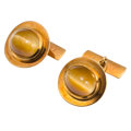Estate Jewelry:Cufflinks, Tiger's-Eye Quartz, Gold Cuff Links, Mohler. ...