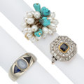 Estate Jewelry:Rings, Multi-Stone, Diamond, Cultured Pearl, Platinum-Topped Gold, Gold Rings. ... (Total: 3 Items)