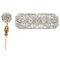 Estate Jewelry:Brooches - Pins, Diamond, Platinum-Topped Gold Brooches. ... (Total: 2 Items)