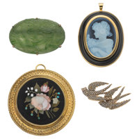 Multi-Stone, Seed Pearl, Gold Brooches ... (Total: 4 Items)