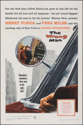 """Movie Posters:Hitchcock, The Wrong Man (Warner Bros., 1957). Folded, Very Fine-. One Sheet (27"""" X 41""""). Hitchcock.. ..."""