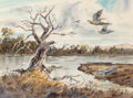 Works on Paper, Clay McGaughy (American, b. 1931). Pheasant Hunt. Watercolor on paper. 21-1/2 x 29 inches (54.6 x 73.7 cm) (sight). Sign...