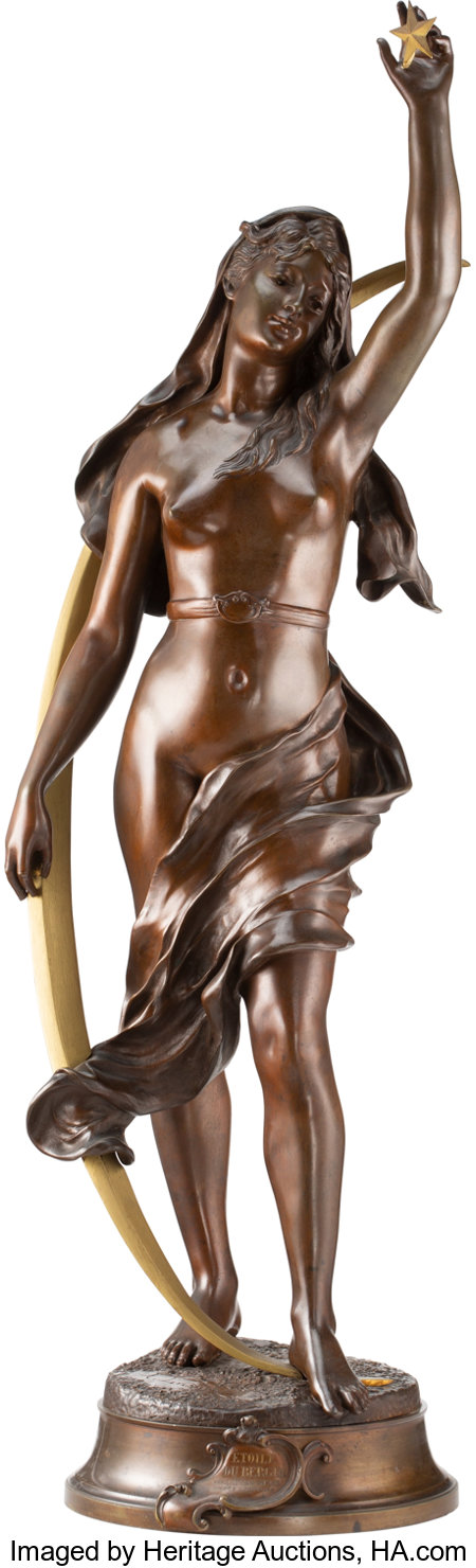 After Henri Louis Levasseur (French, 1853-1934) Etoile du Berger Bronze with brown patina 36-3/8 inches (92.4 cm) hig...