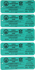 Football Collectibles:Tickets, 1967 Super Bowl I Unused Participant's Passes Lot of 5....