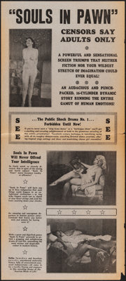 """Souls in Pawn & Other Lot (Real Life Dramas, 1940). Folded, Overall: Fine/Very Fine. Handbills (2) Identical (8""""..."""