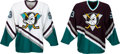 Hockey Collectibles:Uniforms, 1993 Anaheim Mighty Ducks Prototype Jerseys & Original Development Artwork Lot of 6 with Disney Provenance....