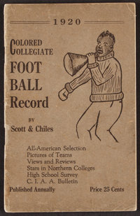 """1920 """"Colored Collegiate Football Record"""" First Edition Softcover"""