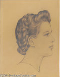 Original Comic Art:Sketches, Kelly Freas - Pencil Study of a Young Woman Original Art (1940). One of the earliest Freas pieces in the sale, this delicate...