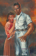 """Original Comic Art:Sketches, Kelly Freas - """"Man with Switchblade"""" Painting Original Art (1951). Mixed-media on board, with an image area of 12"""" x 19"""", si..."""
