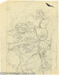 Original Comic Art:Miscellaneous, Kelly Freas - Planet Stories Magazine Pencil Preliminary OriginalArt (1953-54). A mohawked savage battles a fat lady (does ...