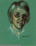 """Original Comic Art:Sketches, Kelly Freas - Untitled Portrait Illustration Original Art (1976). Pastel on paper, the image area measures 7.5"""" x 9.5"""", and ..."""