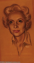 """Original Comic Art:Sketches, Kelly Freas - Portrait Drawing Original Art (undated). Pastel on paper portrait drawing of a woman. Image area 10"""" x 18"""", si..."""