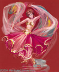 "Original Comic Art:Sketches, Kelly Freas - ""Dorsey Flynn in Belly Dancer Costume"" Portrait Illustration Original Art (undated). Acrylic on paper, the ima..."