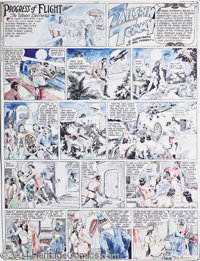 Hal Forrest - Tommy Tailspin Handcolored Sunday Comic Strip Original Art, dated 1-4-31 (Bell Syndicate). It's high-flyin...