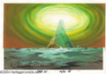 Original Comic Art:Miscellaneous, Heavy Metal 2000 Background Painting Original Art. The sky pulsates with light, high above a mystical tower, in this scene f...