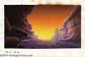 Original Comic Art:Miscellaneous, Heavy Metal 2000 Background Painting Original Art. It's sunset onthe F.A.K.K.2 -- or Federation-Assigned Ketogenic Killzone...