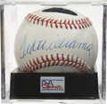 Autographs:Baseballs, Ted Williams Single Signed Baseball NM/MT+ PSA 8.5. Booming sweetspot sig courtesy of legendary Ted Williams. Ball has bee...
