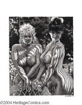 Original Comic Art:Sketches, Robert Crumb - Two Nude Girls Illustration Original Art (1994).Robert Crumb displays his dazzling virtuosity with a pen in ...