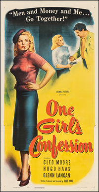 """One Girl's Confession (Columbia, 1953). Very Fine- on Linen. Three Sheet (41.5"""" X 80.5""""). Bad Girl"""