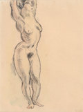 Works on Paper, Jules Pascin (Bulgarian/French, 1885-1930). Étude de nus (double-sided work), 1922. Pencil and watercolor on paper. 8-3/...