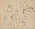 Works on Paper, Jules Pascin (Bulgarian/French, 1885-1930). Figures, 1915. Watercolor and pencil on paper. 8 x 10 inches (20.3 x 25.4 cm...