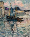 Paintings, Armand Gustave Gérard Jamar (Belgian, 1870-1946). Harbor View, 1926. Oil on canvas. 18 x 15-1/4 inches (45.7 x 38.7 cm)...