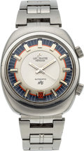 Timepieces:Wristwatch, Jaeger LeCoultre, Memovox HPG Automatic Alarm, Stainless Steel, Ref 9508, Circa 1970. ...